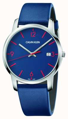 Calvin Klein | мужской город | синий кожаный ремешок | синий циферблат | K2G2G1VX