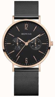 Bering Женская классика | черный сетчатый браслет | черный циферблат | 14236-163