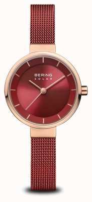 Bering   женская солнечная   полированное розовое золото   красная сетка   красный циферблат   14627-363