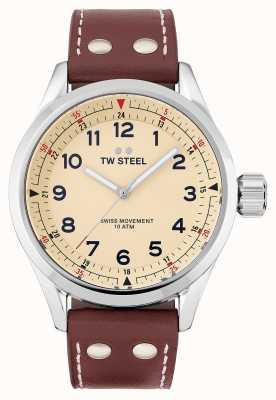 TW Steel | мужские | швейцарский воланте | кремовый циферблат | коричневый кожаный ремешок | SVS101