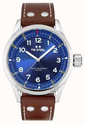 TW Steel | мужские | швейцарский воланте | синий циферблат | коричневый кожаный ремешок | SVS102