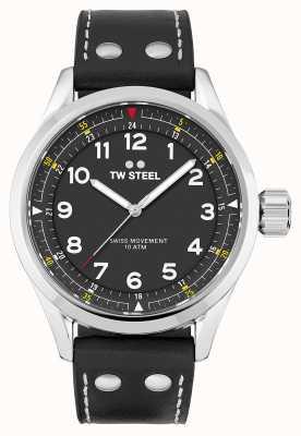 TW Steel | мужские | швейцарский воланте | черный циферблат | черный кожаный ремешок | SVS103