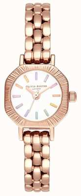 Olivia Burton | радуга бледно-розового золота браслет | белый циферблат | OB16CC50