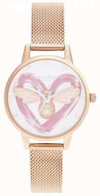 Olivia Burton Счастливая пчела, сетка из серебра и розового золота OB16FB01