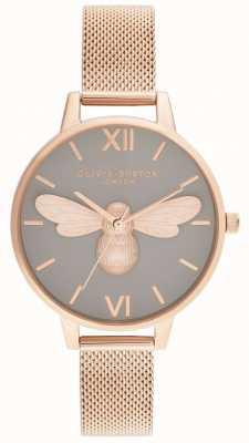Olivia Burton Счастливая пчела, серый циферблат и сетка из розового золота OB16FB10