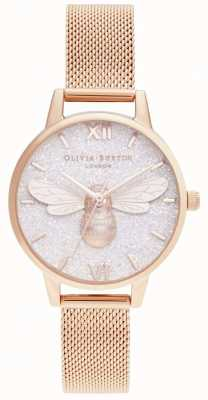 Olivia Burton | циферблат с блестками и сеткой из розового золота | OB16FB04