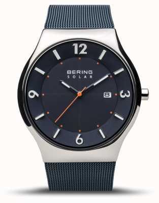 Bering | мужская | тонкий солнечный | темно-синий | сетчатый браслет | 14440-307