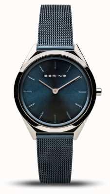 Bering | унисекс | ультра-тонкий | темно-синий браслет из сетки | 17031-307