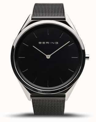 Bering | унисекс | ультра-тонкий | черный сетчатый браслет | 17039-102