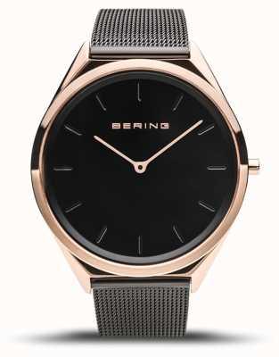 Bering | унисекс | ультра-тонкий | черный сетчатый браслет | 17039-166
