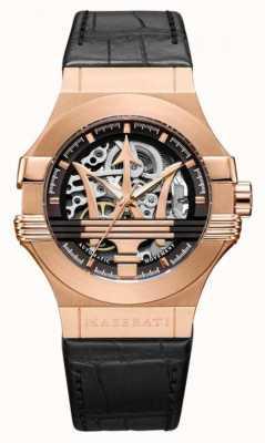Maserati Потенца | черный кожаный ремешок | корпус из розового золота | R8821108030