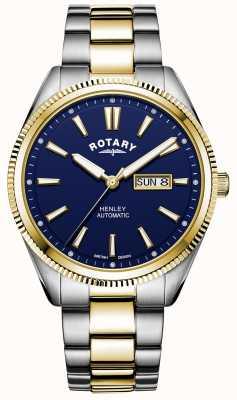Rotary Мужской хенли | двухцветный браслет из нержавеющей стали | синий циферблат GB05381/05
