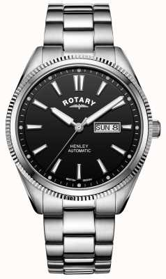 Rotary Мужской хенли | браслет из нержавеющей стали | черный циферблат | GB05380/04