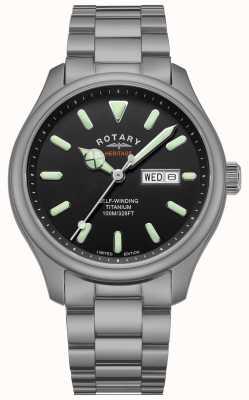 Rotary Мужской хенли | титановый браслет | черный циферблат | GB05249/04