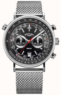 Rotary Мужской хенли | браслет из стальной сетки | черный циферблат | GB05235/04