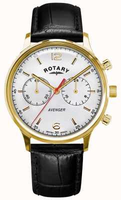 Rotary Мужской мститель | черный кожаный ремешок | золотой кейс | белый циферблат GS05206/70