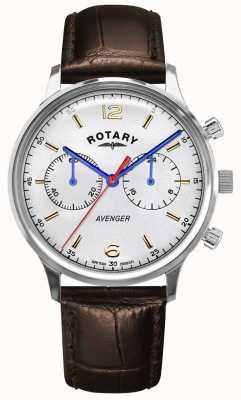 Rotary Мужской мститель | коричневый кожаный ремешок | серебряный циферблат GS05203/70
