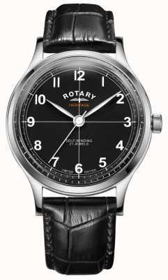 Rotary Мужское лимитированное наследие | черный кожаный ремешок | GS05125/04