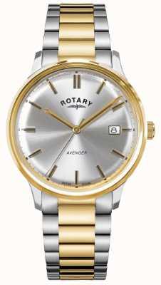 Rotary Мужской мститель | двухцветная нержавеющая сталь | серебряный циферблат | GB05401/06
