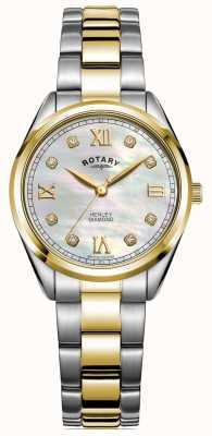 Rotary Хенли женская | циферблат с бриллиантами | двухцветный браслет | LB05111/41/D