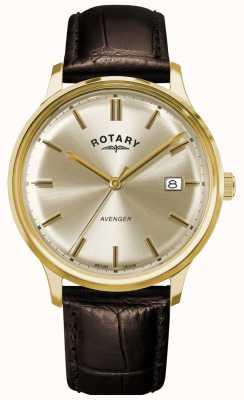 Rotary Мужской мститель | коричневый кожаный ремешок | циферблат с шампанским GS05403/03