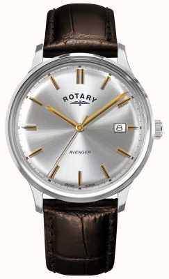 Rotary Мужской мститель | коричневый кожаный ремешок | серебряный циферблат | GS05400/06