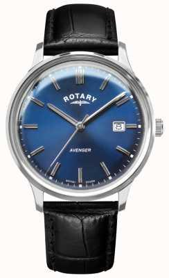 Rotary Мужской мститель | черный кожаный ремешок | синий циферблат | GS05400/05