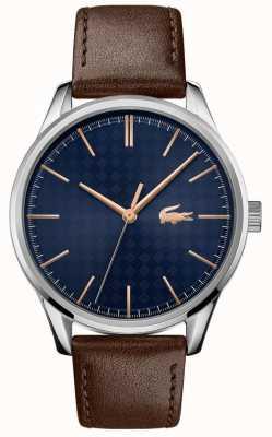 Lacoste Мужская вена | коричневый кожаный ремешок | синий циферблат 2011046