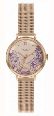 Radley | женский браслет из розового золота с сеткой | циферблат с цветочным принтом RY4524