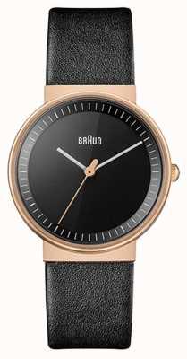 Braun Женская | классический | черный кожаный ремешок | черный циферблат | Роза BN0031RGBKL