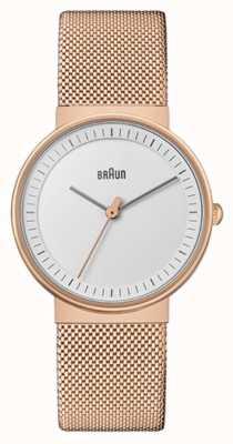 Braun Женская | классический | сетка из пвд розового золота | белый циферблат BN0031RGMHL