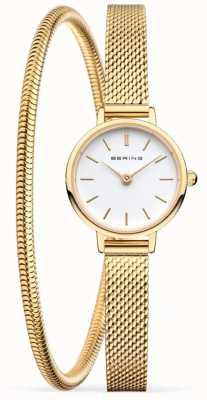 Bering Подарочный набор ко Дню Матери | золотые сетчатые часы и браслет 11022-334