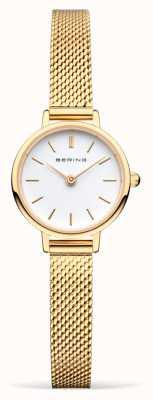 Bering Женский золотой браслет из сетки | белый циферблат 11022-334