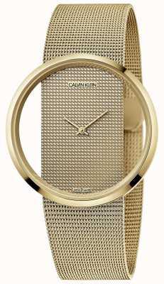 Calvin Klein | глэм | браслет из стальной сетки с золотым покрытием | золотой циферблат | K9423Y29