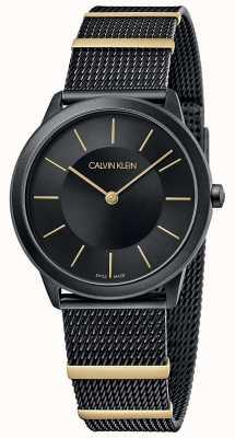 Calvin Klein | минимальный | черный сетчатый браслет | черный циферблат | 35мм K3M524Z1