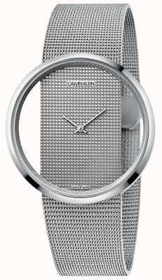 Calvin Klein | глэм | серебряный браслет из стальной сетки | серебряный циферблат | K9423T27