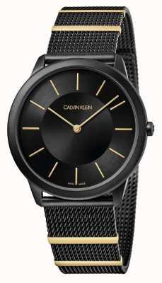 Calvin Klein | минимальный | черный стальной браслет-сетка | черный циферблат | K3M514Z1