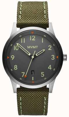 MVMT Мужские | поле | ремешок из холщовой ткани зеленого цвета | серый циферблат 28000014-D