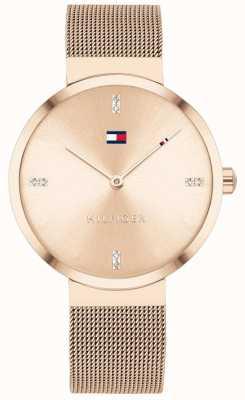 Tommy Hilfiger Свобода | браслет из розово-золотой сетки | циферблат из розового золота 1782218