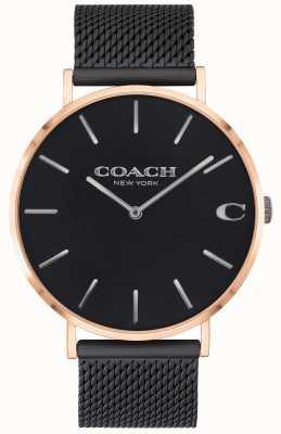Coach | мужские чарльз | черный сетчатый браслет | черный циферблат | 14602470