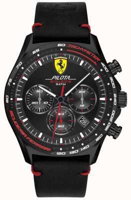 Scuderia Ferrari | мужская пилота эво | черный кожаный ремешок | черный циферблат 0830712