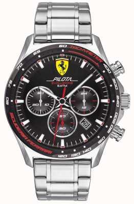 Scuderia Ferrari | мужская пилота эво | браслет из нержавеющей стали | черный циферблат | 0830714