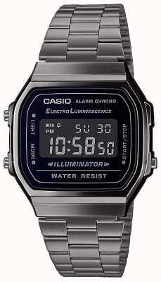 Casio | винтаж | серебряный браслет из нержавеющей стали | черный циферблат | A168WEGG-1BEF