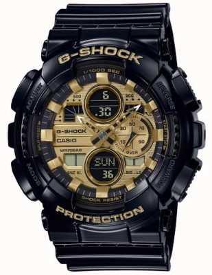 Casio G-шок мирового времени | черный резиновый ремешок | GA-140GB-1A1ER