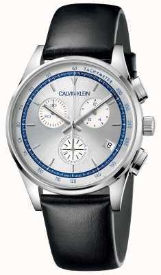 Calvin Klein | мужская комплектация | черный кожаный ремешок | серебряный циферблат KAM271C6