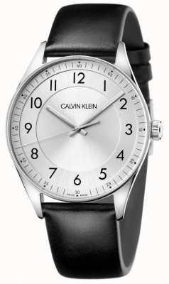 Calvin Klein | яркий | черный кожаный ремешок | серебряный циферблат KBH211C6