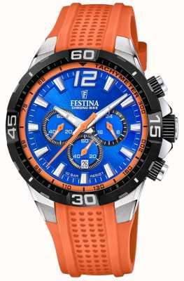 Festina Chrono bike 2020 синий циферблат оранжевый ремешок F20523/6