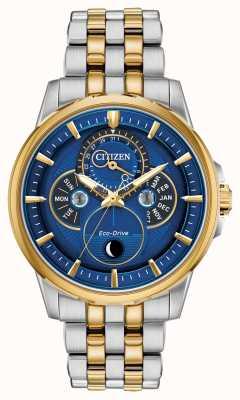 Citizen Мужские | эко-драйв | фаза луны | часы с синим циферблатом BU0054-52L