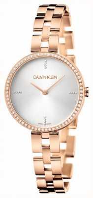 Calvin Klein Элегантность | браслет из розового золота из нержавеющей стали | серебряный циферблат KBF23X4W