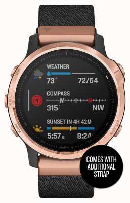 Garmin Fenix 6s Pro сапфир   розово-золотой черный   нейлоновый и черный резиновый ремешок 010-02159-37